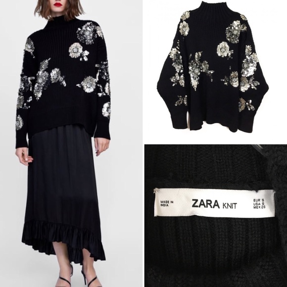 f81091dc ZARA-floral sweater with sequins Size S. M_5c098b40aa57197dd52fd932